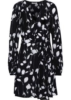 Equipment Woman Alexandria Asymmetric Printed Crepe De Chine Mini Dress Black