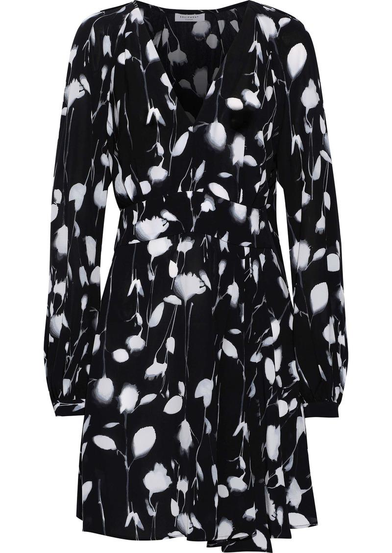Equipment Woman Alexandria Asymmetric Printed Crepe De Chine Mini Dress Black
