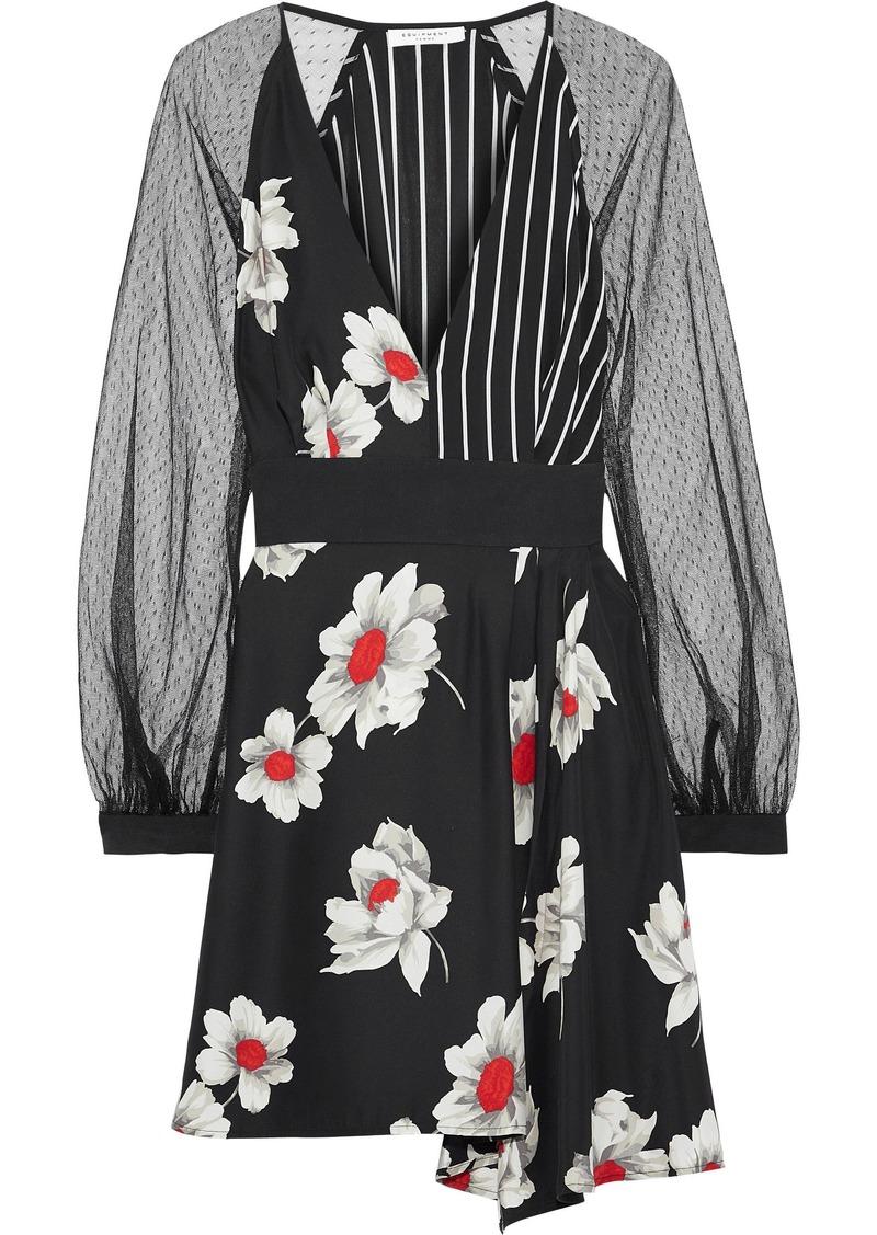 Equipment Woman Alexandria Point D'esprit-paneled Printed Silk Mini Dress Black