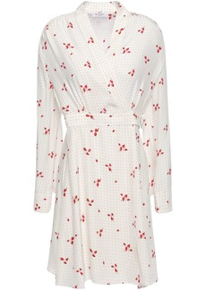Equipment Woman Allaire Printed Washed-silk Mini Wrap Dress Ivory