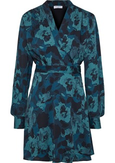 Equipment Woman Allaire Shirred Printed Washed-crepe Mini Wrap Dress Petrol