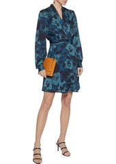 Equipment Woman Allaire Wrap-effect Floral-print Crepe De Chine Mini Dress Petrol