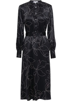 Equipment Woman Alowette Floral-print Washed-silk Midi Dress Black
