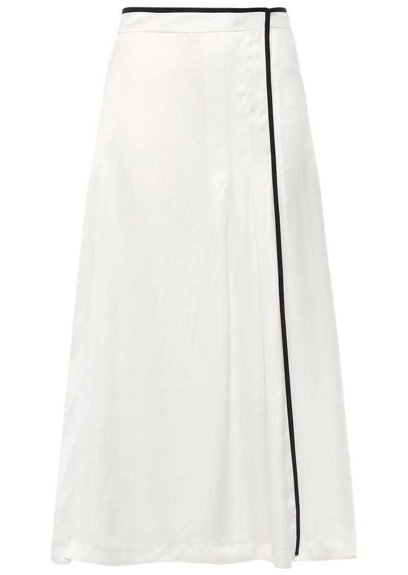 Equipment Woman Amorette Pleated Silk-blend Satin Skirt Off-white