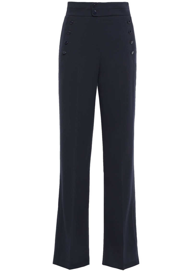 Equipment Woman Andrae Button-embellished Cady Wide-leg Pants Midnight Blue