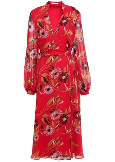 Equipment Woman Andrese Floral-print Silk-chiffon Midi Wrap Dress Red