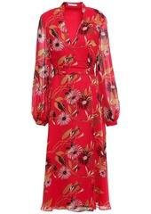 Equipment Woman Andrese Floral-print Silk-chiffon Midi Wrap Dress Red