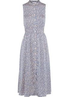 Equipment Woman Andrinna Printed Washed-satin Midi Dress Azure