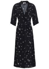Equipment Woman Anitone Printed Washed-crepe Midi Wrap Dress Black