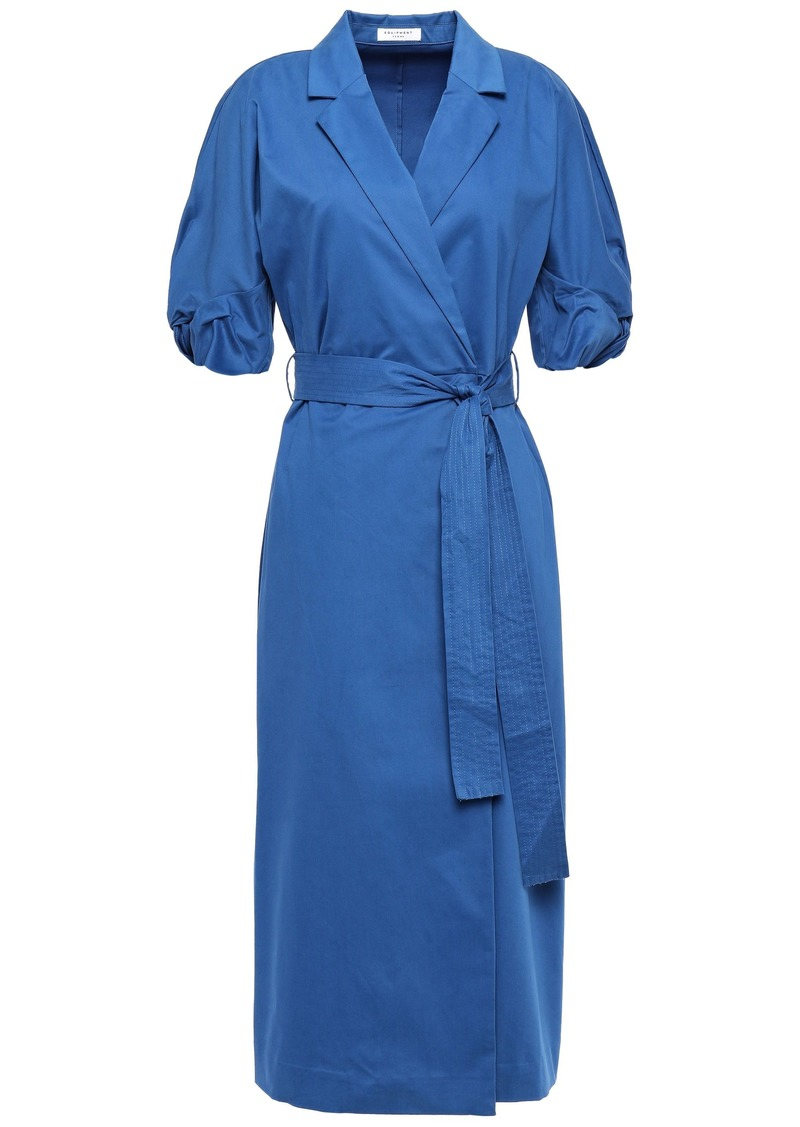 Equipment Woman Anitone Stretch-cotton Sateen Midi Wrap Dress Cobalt Blue
