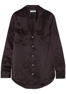 Equipment Woman Ansley Polka-dot Silk-satin Shirt Black