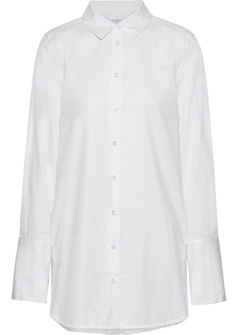 Equipment Woman Arlette Floral-print Silk-trimmed Cotton-poplin Shirt White