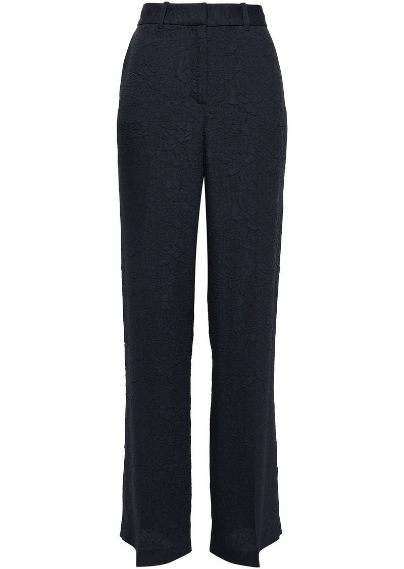 Equipment Woman Arwen Floral-jacquard Wide-leg Pants Midnight Blue