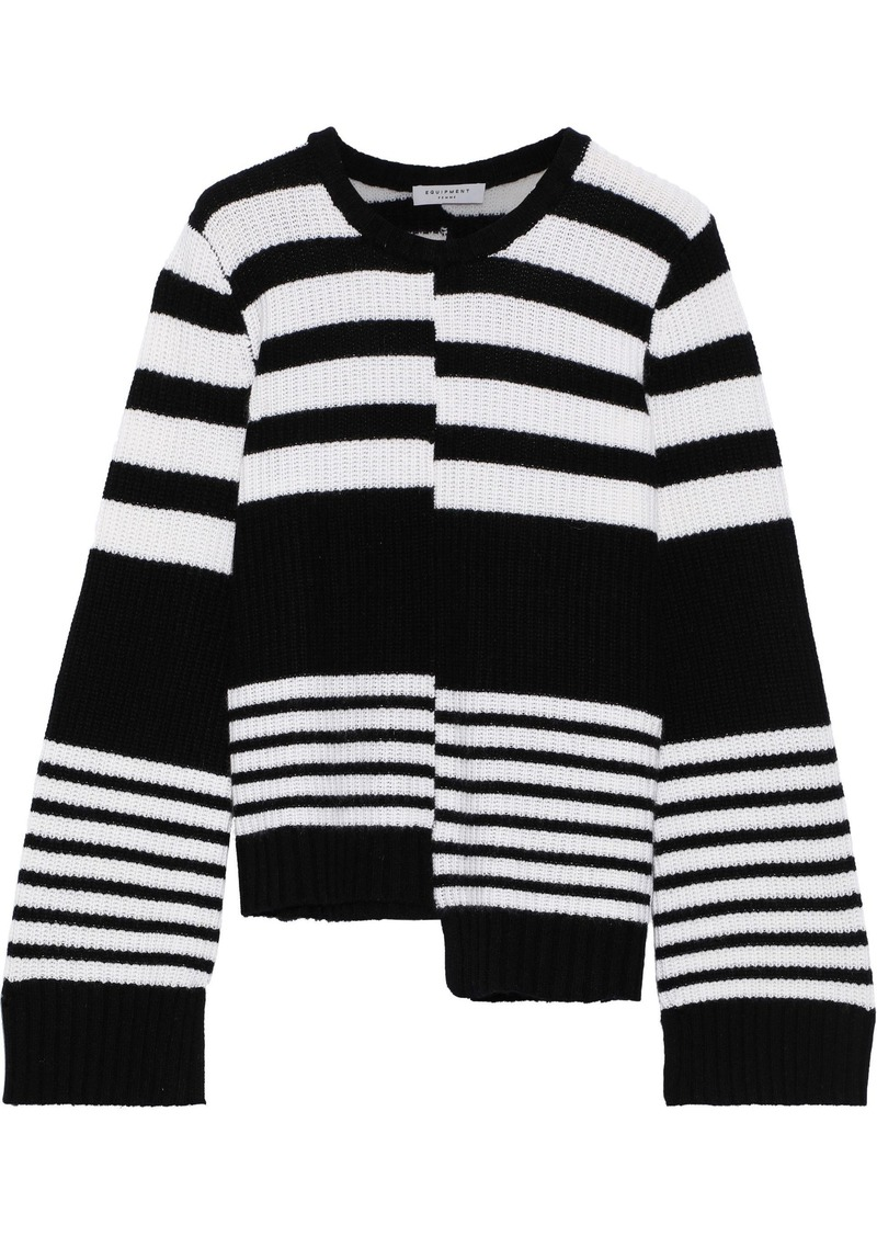 Equipment Woman Asymmetric Striped Cashmere Sweater Black