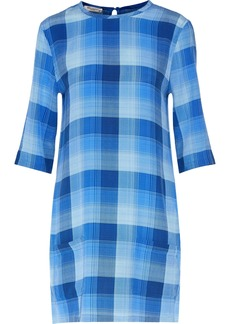Equipment Woman Aubrey Checked Washed-silk Dress Blue