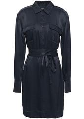 Equipment Woman Axelle Belted Satin-twill Mini Shirt Dress Midnight Blue