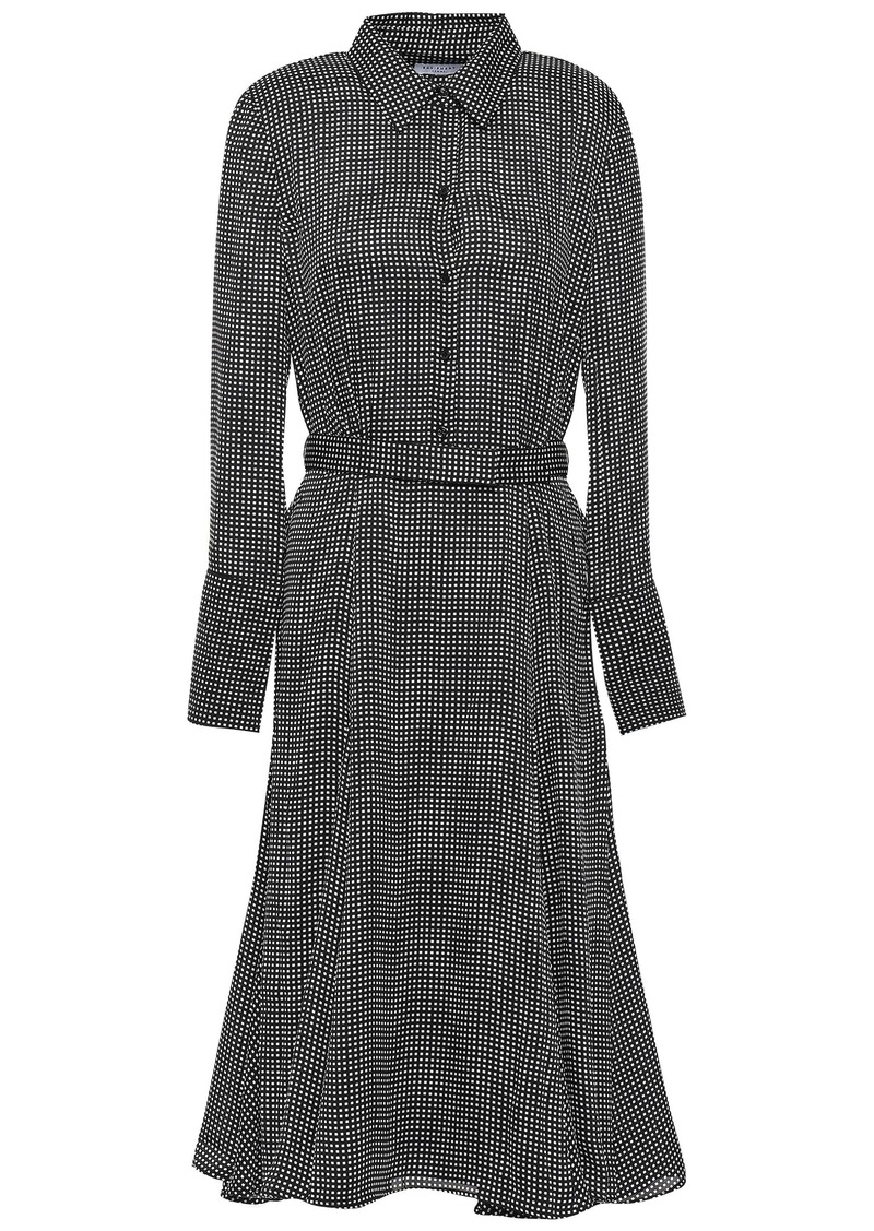Equipment Woman Bancort Belted Checked Crepe De Chine Shirt Dress Black
