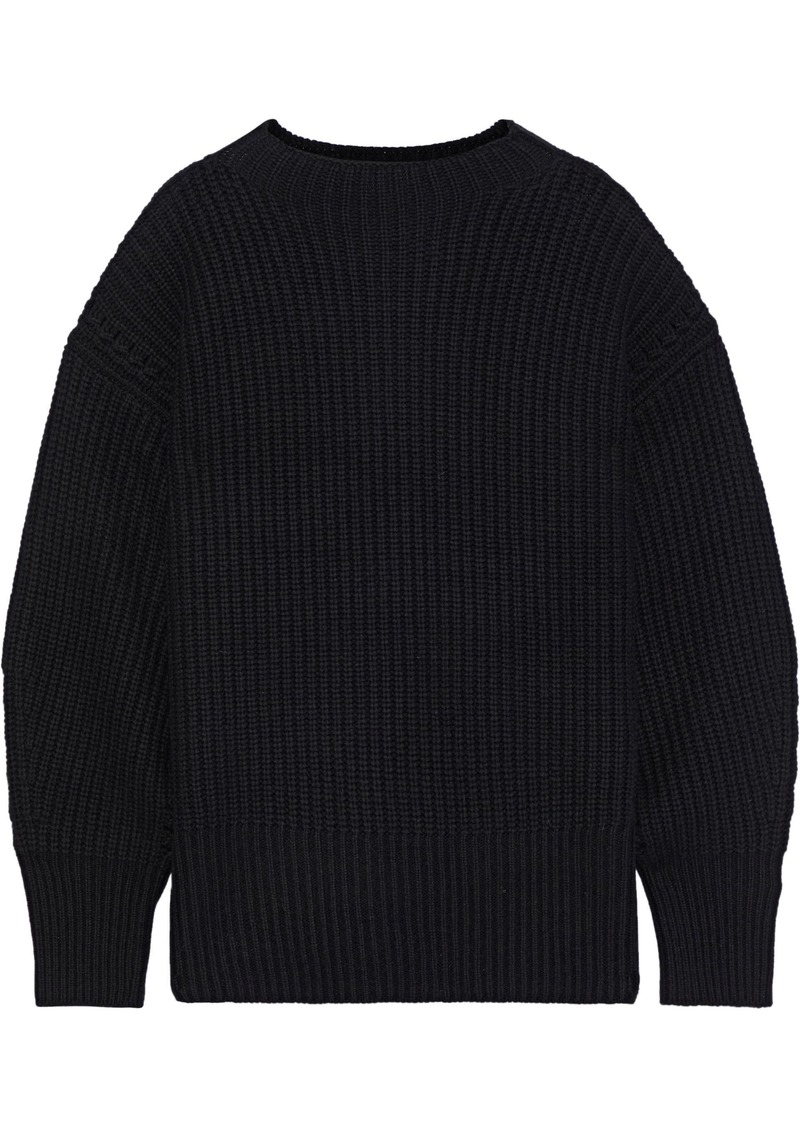 Equipment Woman Bay Waffle-knit Wool And Cashmere-blend Sweater Black