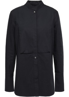 Equipment Woman Beale Paneled Cotton-poplin Shirt Midnight Blue