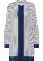 Equipment Woman Belen Pinstriped Silk Mini Shirt Dress Navy