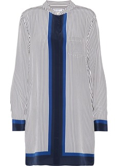 Equipment Woman Belen Pinstriped Silk Mini Shirt Dress Navy