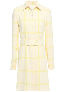 Equipment Woman Belted Checked Crepe Mini Shirt Dress Pastel Yellow