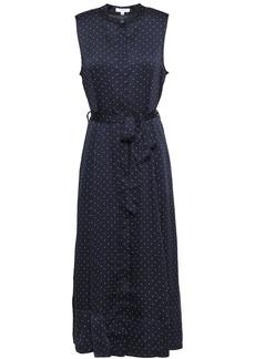 Equipment Woman Belted Polka-dot Satin Midi Dress Midnight Blue