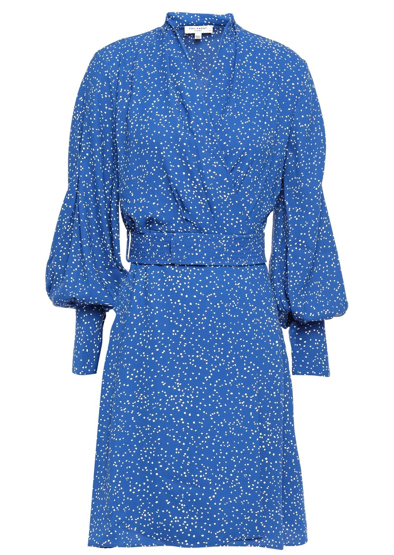Equipment Woman Belted Printed Crepe De Chine Mini Wrap Dress Royal Blue