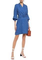 Equipment Woman Belted Printed Crepe De Chine Mini Wrap Dress Royal Blue