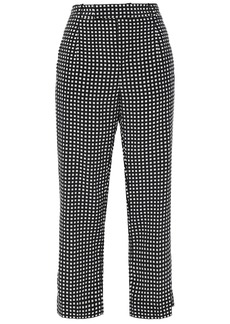 Equipment Woman Bergen Cropped Checked Silk Straight-leg Pants Black