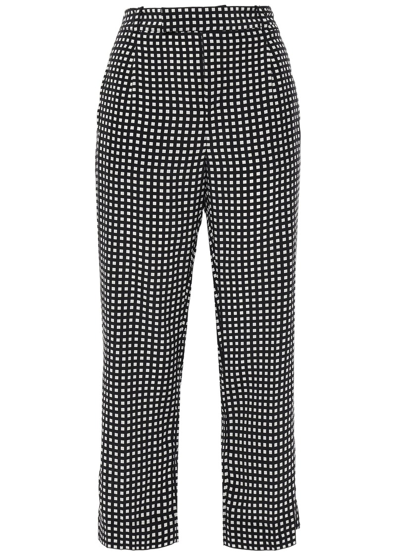 Equipment Woman Bergen Cropped Checked Silk Straight-leg Pants Black