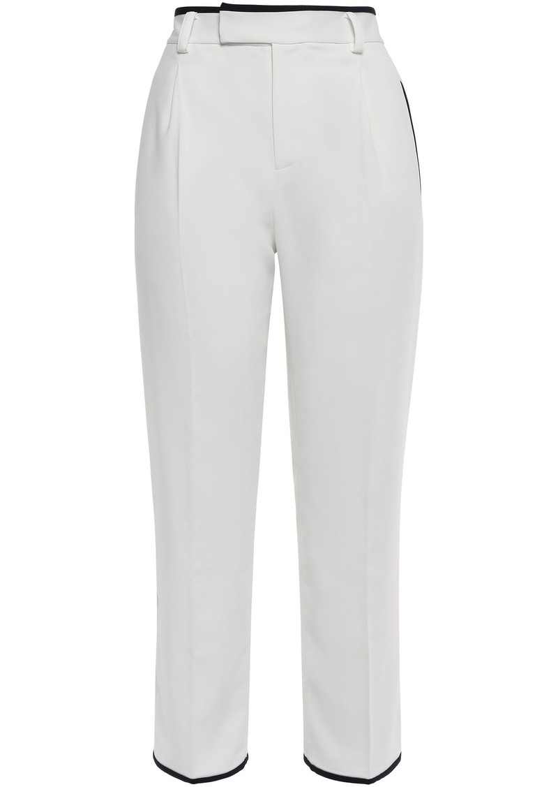 Equipment Woman Bergen Cropped Stretch-crepe Straight-leg Pants Ivory