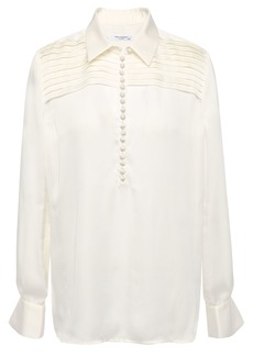 Equipment Woman Bina Pintucked Washed-satin Blouse Off-white