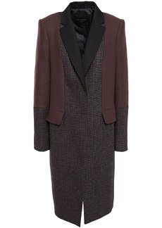 Equipment Woman Blocked Arostide Felt-paneled Houndstooth Wool-blend Coat Merlot