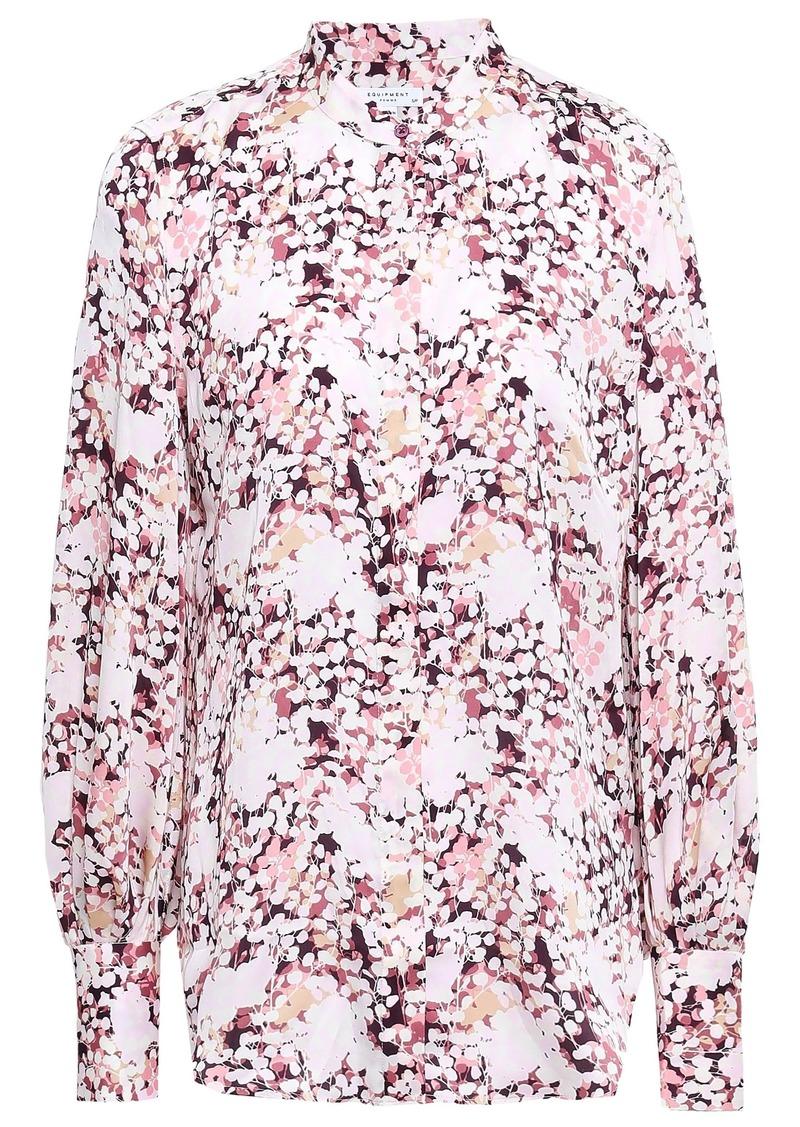 Equipment Woman Boleyn Printed Washed-crepe Shirt Pastel Pink
