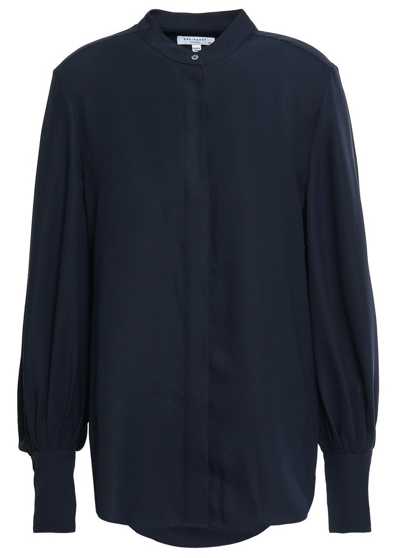 Equipment Woman Boleyn Washed-crepe Shirt Midnight Blue