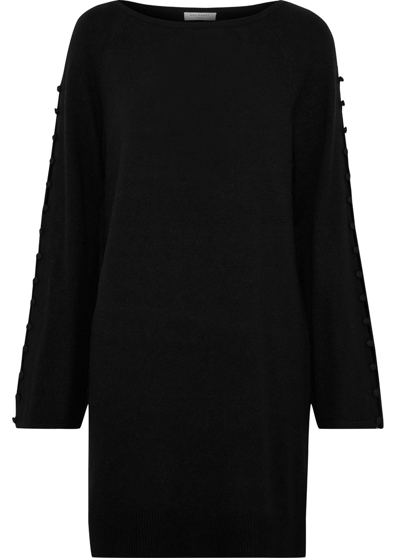 Equipment Woman Booker Button-detailed Stretch-knit Mini Dress Black