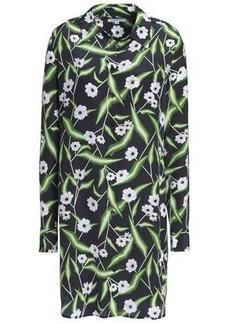 Equipment Woman Brett Floral-print Washed-silk Mini Shirt Dress Midnight Blue