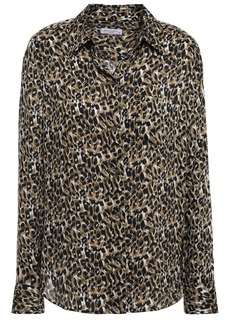 Equipment Woman Brett Leopard-print Washed-crepe Shirt Animal Print