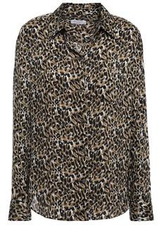 Equipment Woman Brett Leopard-print Washed-crepe Shirt Animal Print