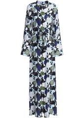 Equipment Woman Britten Floral-print Silk Crepe De Chine Maxi Shirt Dress Sky Blue