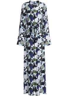 Equipment Woman Britten Floral-print Silk Crepe De Chine Maxi Shirt Dress Sky Blue