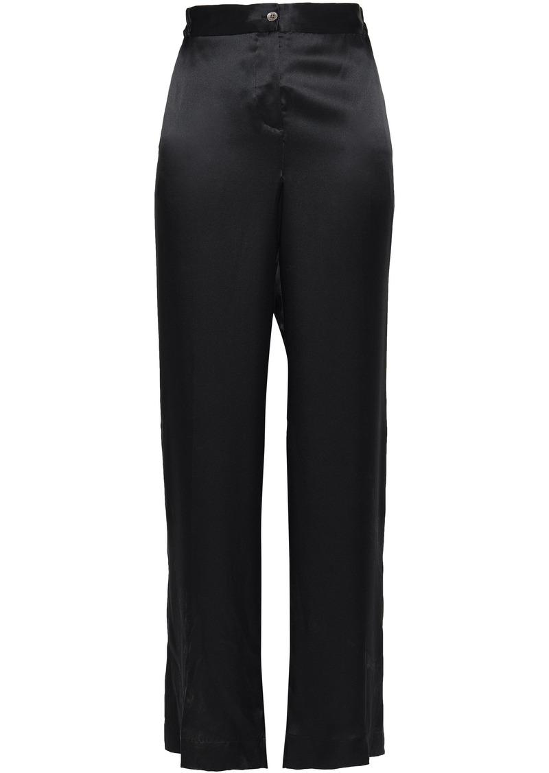 Equipment Woman Button-detailed Silk-satin Wide-leg Pants Black