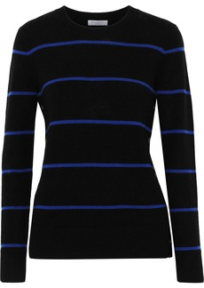 Equipment Woman Button-detailed Striped Cashmere Sweater Black