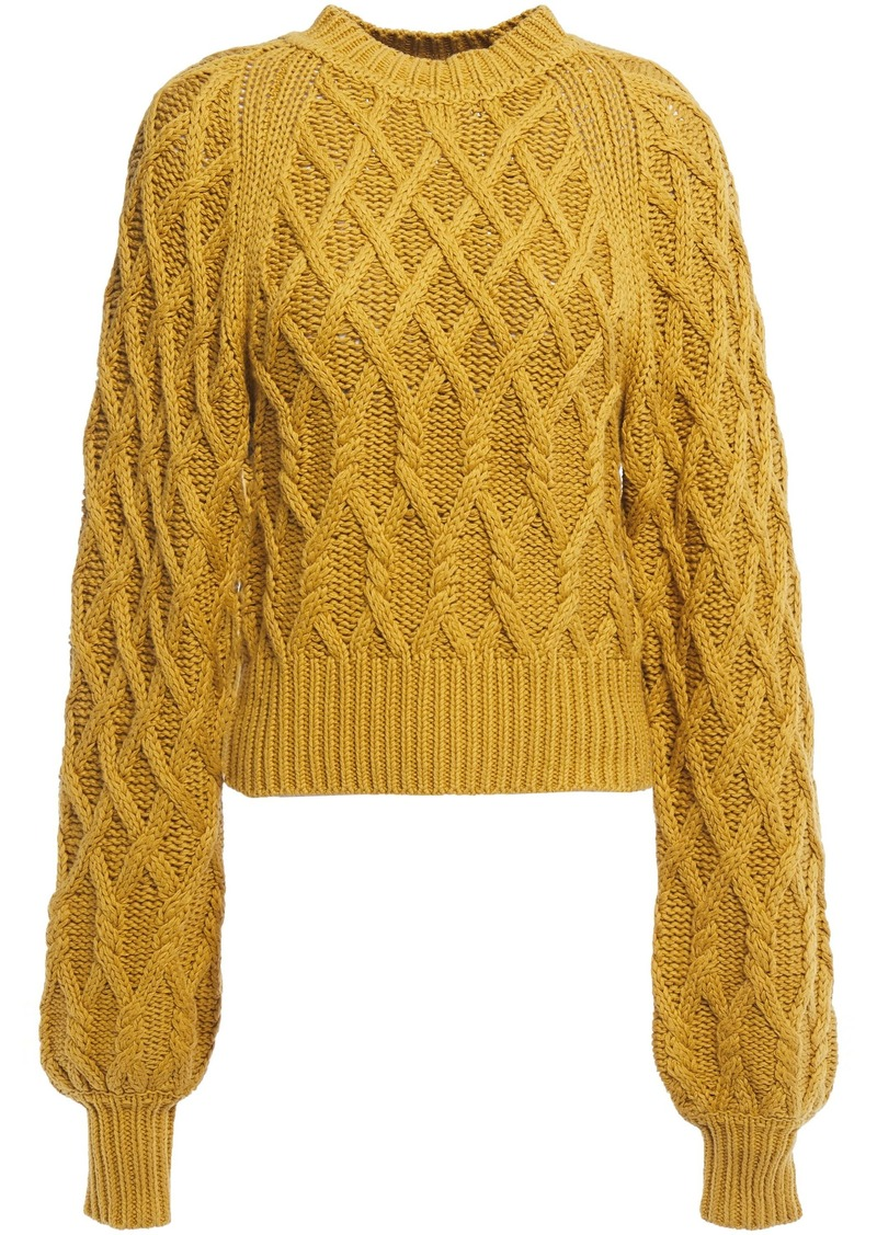 Equipment Woman Cable-knit Cotton Sweater Mustard