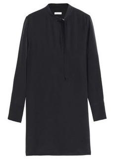 Equipment Woman Cadence Washed-silk Mini Shirt Dress Black