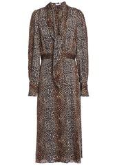 Equipment Woman Calanne Leopard-print Crepe De Chine Midi Dress Animal Print