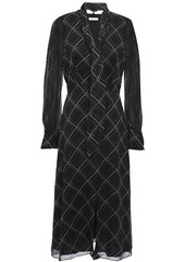 Equipment Woman Calanne Tie-neck Checked Silk-chiffon Midi Dress Black