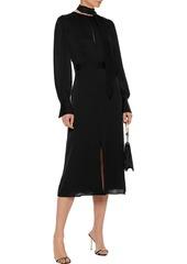 Equipment Woman Calanne Tie-neck Satin Midi Dress Black