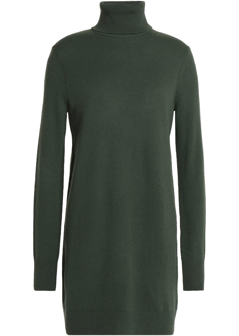 Equipment Woman Cashmere Turtleneck Mini Dress Dark Green